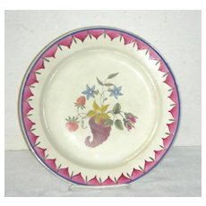 18th C Decorated English Creamware Plate w/ Cornucopia, Flowers & Strawberries