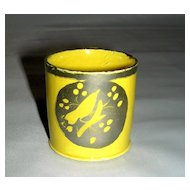 19th C Child's Miniature Yellow Glaze Mug w/ Silver Resist Bird Decoration