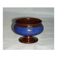 Copper Lustre Luster Master Salt w/ Blue Slip Band & Flowers
