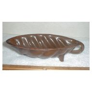 Footed 19th Century Redware Food Mould Mold w/ Loop Handle