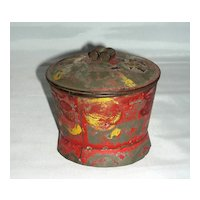 Decorated Red Toleware Sugar Box, c. 1840