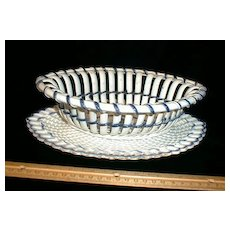 Blue Edge Pearlware Ribbon Basket & Tray w/ Basketweave Decoration c. 1800