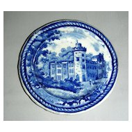 Blue Historical Staffordshire Cup Plate ~ Castle Forbes w/ Stringing Border by Enoch Wood