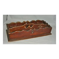 Wooden Knife or Cutlery Box Carrier w/ Heart Cut-Out Handle & Scalloped Edge Original 19th C Surface