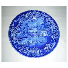 Dark Blue Historical Staffordshire Plate:  Moulin sur la Marne a Charenton from the French Series by Enoch Wood, c. 1825-30