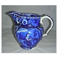 Dark Blue Staffordshire Jug ~ Water Girl (or Girl at the Well) by Clews, c. 1820