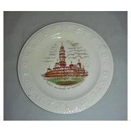 Staffordshire Child's Alphabet (ABC) Plate w/ Philadelphia City Hall (Public Buildings), late 19th Century