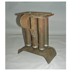 Rare 19th Century Miniature 6-Tube Tin Candle Mold with Arched Base