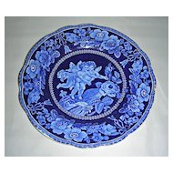 Dark Blue Staffordshire Dinner Plate ~ 2 Cherubs Flying w/ Adams Mark, c. 1820