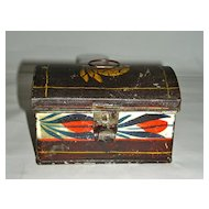 Small Decorated Tole or Tin Box, c. 1860, w/ Strong Decoration