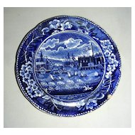 American Historical Staffordshire Cup Plate: Landing of Lafayette at Castle Garden, NY, c. 1825