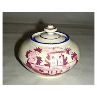 Blue Banded Pink Lustre Sugar Bowl from Child's Set, c. 1840