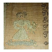 Very Attractive 1830 American Needlework Sampler by Roxana Holmes w/ Little Girl & Flower Columns