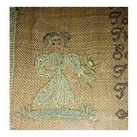 Very Attractive 1830 American Needlework Sampler by Roxana Holmes w/ Little Girl & Flower Columns
