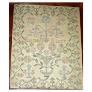 Silk on Silk Needlework Sampler by Elizabeth Lacey, Possibly Pennsylvania, c. 1820