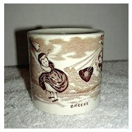 "Staffordshire Pearlware Child's Mug ""Breeze"" c. 1860"