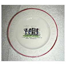 Staffordshire Child's ABC Plate: Conundrum or Riddle #4 w/ Black Figures, c. 1880