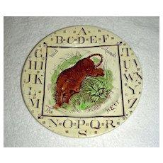 Staffordshire Child's Alphabet (ABC) Plate w/ Tiger, Wild Animals Series, 1882