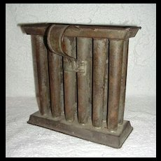 Miniature 19th Century 12 Tube Candle Mold w/ Base & Handle