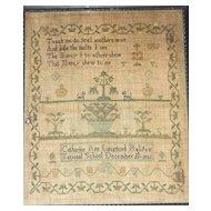 1821 Needlework Sampler by Catharine Ann Langford, National School, Halifax, Nova Scotia Canada