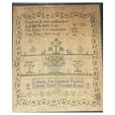 1821 Needlework Sampler by Catharine Ann Langford, National School, Halifax, Nova Scotia Canada