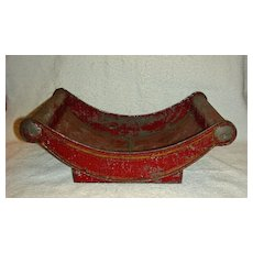 Rare Red Painted Toleware Tin Cheese Cradle, c. 1850