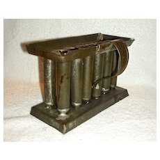 Squatty 12 Tube Miniature Tin Candle Mold on Base, c. 1860