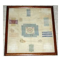 """Early Dutch Darning Sampler, Signed """"MV"""" and Dated 1757"""