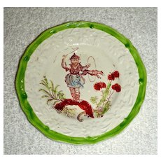 Small Staffordshire Child's Plate: Dog Jumping through a Hoop, c. 1840