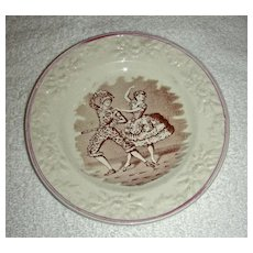 "Staffordshire Child's Plate: ""Harlequin and Columbine"" w/ Molded Floral Border & Lustre Edge, c. 1860"