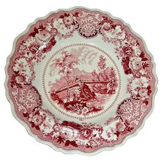 "American Historical Staffordshire Bowl: ""Headwaters of the Juniata U.S."" by Adams, c. 1830"