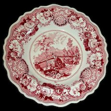 """American Historical Staffordshire Bowl: """"Headwaters of the Juniata U.S."""" by Adams, c. 1830"""