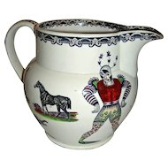 Large & Colorful Harlequin Jug  w/ Animal Transfers, English, Late 19th Century