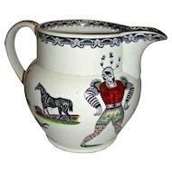 Large & Colorful Harlequin Jug  w/ Animal Transfers, English, Late 19th Century