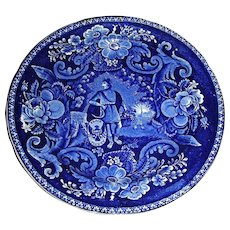 """American Historical Staffordshire 9"""" Plate ~ Peace & Plenty, c. 1825, by Clews"""