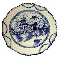 English Pearlware Shell Edge Plate with Underglaze Blue Decoration: Long Eliza & Chinese Pagoda, c. 1810