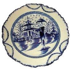 English Pearlware Shell Edge Plate with Underglaze Blue Decoration: Long Eliza & Chinese Pagoda, c. 1810