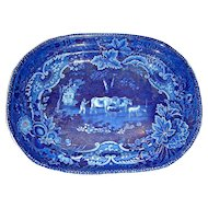 Dark Blue Staffordshire Platter by Adams: Man Herding Cattle and Sheep (Pastoral #2), c. 1825