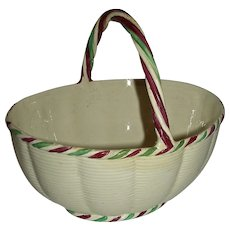 Creamware Basket w/ Lobed Sides, Twisted Handle and Rare Puce & Green Enameled Highlights, c. 1800