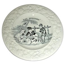 "19th Century Staffordshire Child's Plate: ""Rat Hunting"""