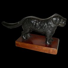 Dog Figural Nutcracker Mounted on Wooden Base
