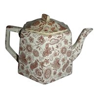 Aesthetic Transfer 5-Sided Child's Teapot with Floral Sheet Pattern, Late 19th Century