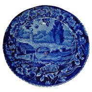 Blue Historical Staffordshire Cup Plate:  Stone Bridge, French Series, c. 1830