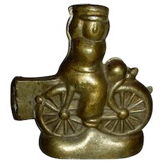Early 20th Century Pewter Ice Cream Mold:  Bicycle & Rider