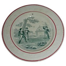Late 19th Century Child's Staffordshire Alphabet Plate with Boys Playing Ball (Looks like a baseball), c. 1870
