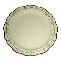 "Early 8"" English Creamware Plate, Marked Turner w/ Purple Edge and Trailing Vine Border, c. 1800"