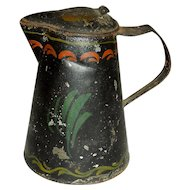 Tall, Decorated Toleware Syrup Pitcher, c. 1880