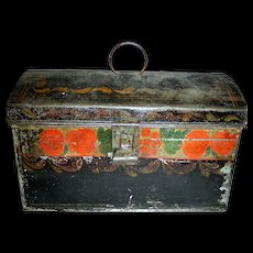 Decorated Toleware Document Box with Red, Green and Yellow Decoration, c. 1840