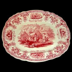 """Red Transfer Staffordshire 15"""" Platter: Hannibal Passing the Alps, c. 1840"""