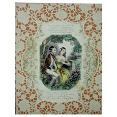 c. 1875 Victorian Colored Courting Lithograph or Valentine's w/ Cut Paper (Scherenschnitte) Matte